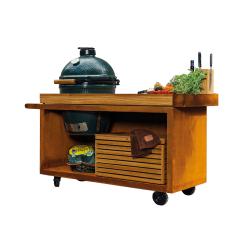 Kamado Table Pro Corten Teak Wood BGE