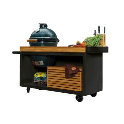 Kamado Table Pro Black Teak Wood BGE