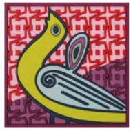 Coaster BIRDS OF PARADISE, red, 9x9cm, 2pcs