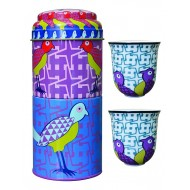 Tin box with 2 coffee cups 90ml, BIRDS OF PARADISE
