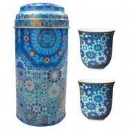 Tin box with 2 coffee cups 90ml, MOUCHARABIEH BLUE