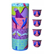 Tin box with 4 coffee cups 60ml, BIRDS OF PARADISE