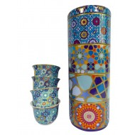 Tin box with 4 coffee cups 60ml, MOUCHARABIEH BLUE