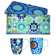 Tin box with 2 mugs 220ml, MOUCHARABIEH BLUE