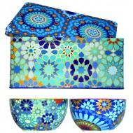 Tin box with 2 bowls 12cm, MOUCHARABIEH BLUE