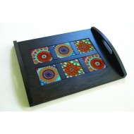Wooden Tray 43x33cm, incl 6 MOUCHARABIEH coasters