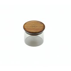 glazen voorraadpot met deksel uit acaciahout 300ml  Dagelijkse Kost