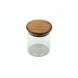 glazen voorraadpot met deksel uit acaciahout 450ml  Dagelijkse Kost