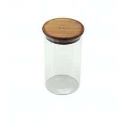 glazen voorraadpot met deksel uit acaciahout 700ml  Dagelijkse Kost