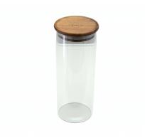 glazen voorraadpot met deksel uit acaciahout 1.1L