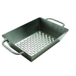 Diepe inox grill wok, geperforeerd (33 x 25 cm)