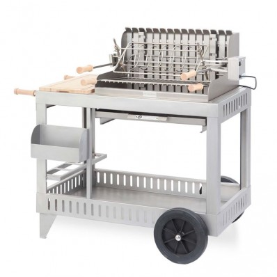 Houtskoolbarbecue + rolwagen Exclusive Mendy inox 5432