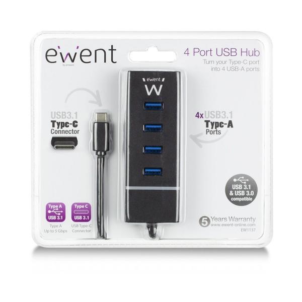 Ewent 4-Poorts USB 3.1 Gen1 (USB 3.0) Hub Type-C