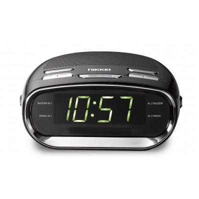 Nikkei NR151D Klokradio dual alarm AM/FM - snooze zwart