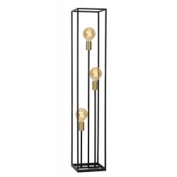 RUBEN Vloerlamp 3x E27 40W Zwart / mat goud  Lucide