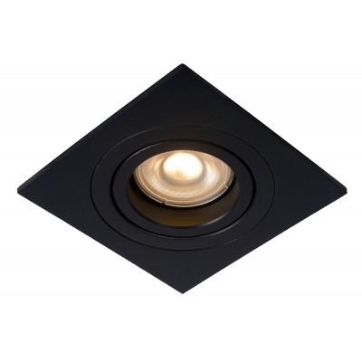 TUBE Inbouwspot GU10 Vierkant Ø9.2cm Zwart  Lucide
