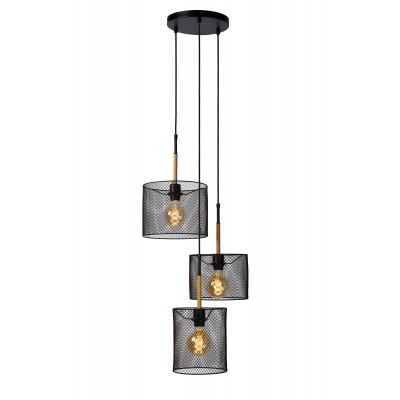 BASKETT Hanglamp 3xE27/40W Zwart/Hout  Lucide