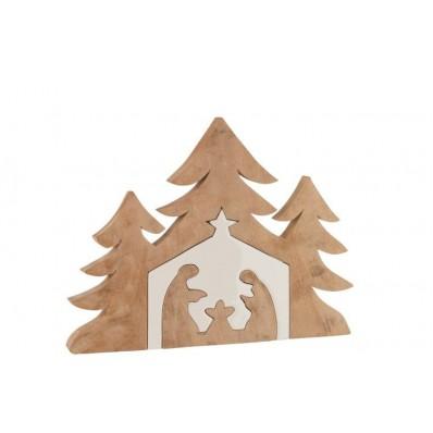 Kerststal+Kerstbomen Puzzle Mango Hout Wit/Naturel