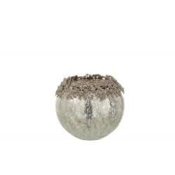 Theelichthouder Juweel Metaal/Glas Zilver Large Jolipa