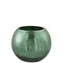Windlicht Bol Craquele Glas Blinkend Groen Large Jolipa