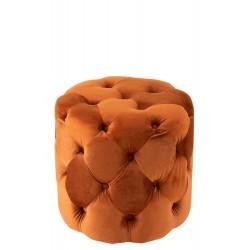 Poef Knopen Velours Oranje  Jolipa