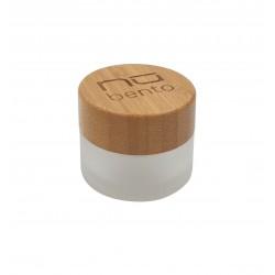 doosje voor saus uit glas met bamboe deksel Ø 4.5cm H 3.5cm (per 6st.)  Nubento