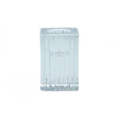 SHINE STRIPES KAARSENHOUDER 4X4X6CM GLAS