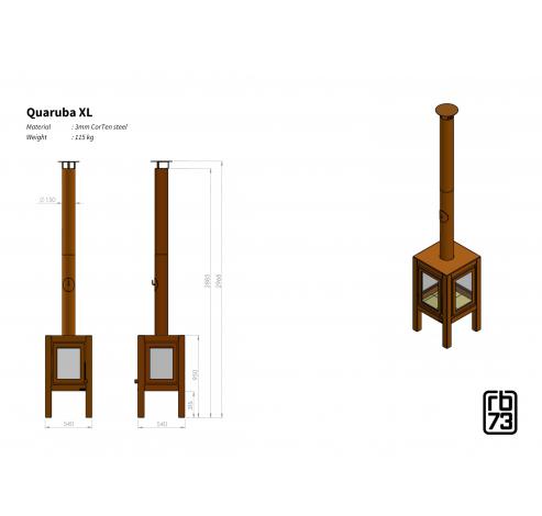 Quaruba XL 4 zijde glas  RB73